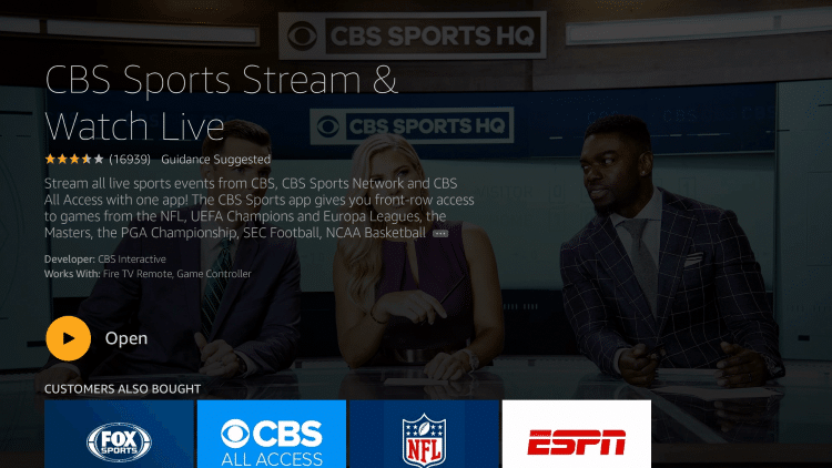 After installation, you can choose to open the CBS Sports App. But for this example, we suggest holding down the home button on your remote.
