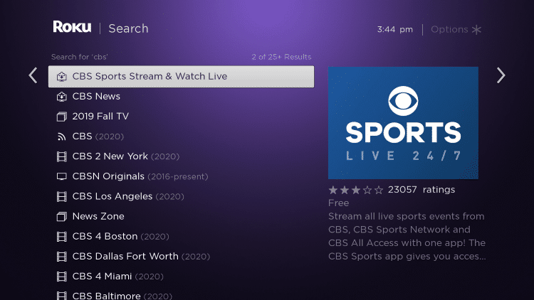 Click the first option for CBS Sports