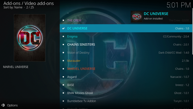 "Wait for the ""DC Universe Add-on installed"" message to appear"