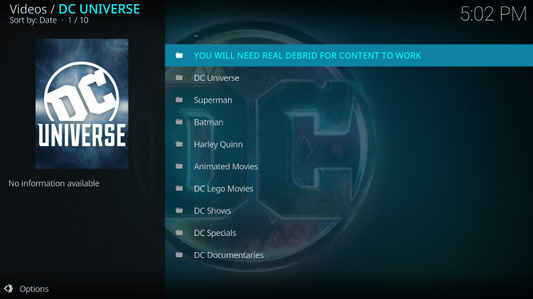 That's it! The DC Universe Kodi Addon is now successfully installed