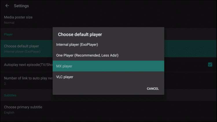 choose mx player