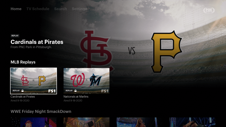 Users will find several sports categories to choose from within the app's home screen.