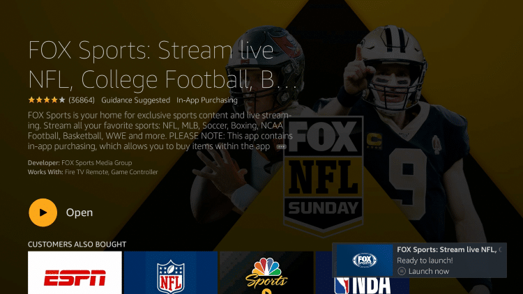 After installation, you can choose to open the FOX Sports App. But for this example, we suggest holding down the home button on your remote.
