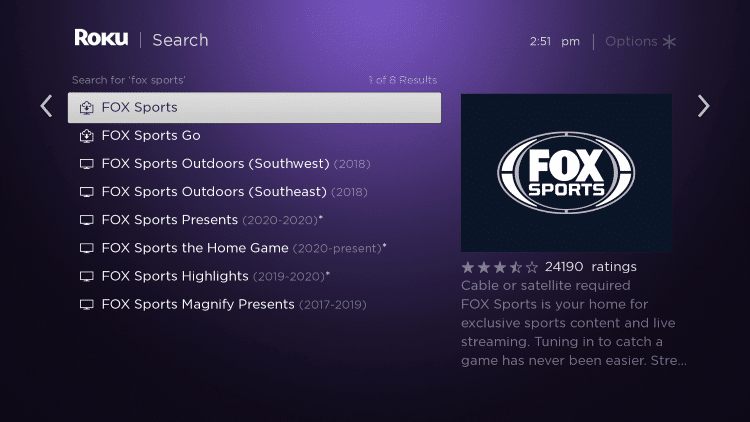 Click the first option for FOX Sports