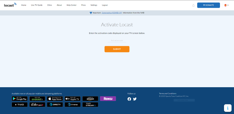 You are then directed to the Activate Locast page