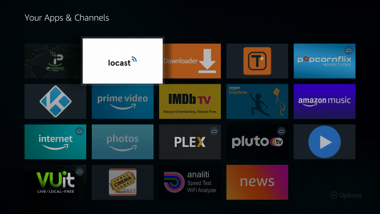 Place the Locast app within your Apps & Channels wherever you prefer