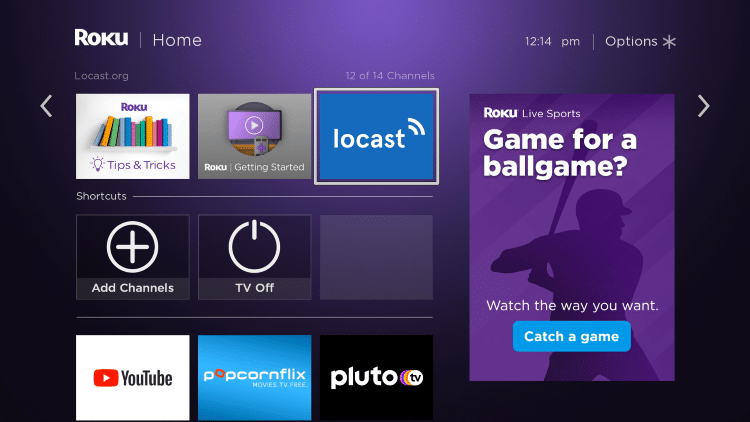 Return to the home screen and find Locast