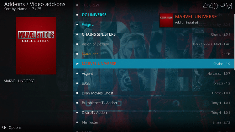 "Wait for the ""Marvel Universe Add-on installed"" message to appear"