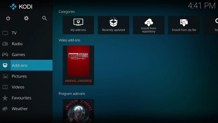 Once the Marvel Universe video add-on has been installed go back to the Home screen of Kodi. Click Add-ons
