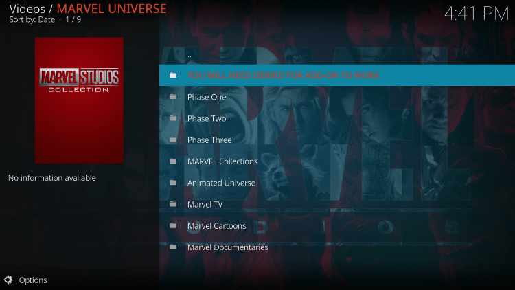 That's it! The Marvel Universe Kodi Addon is now successfully installed
