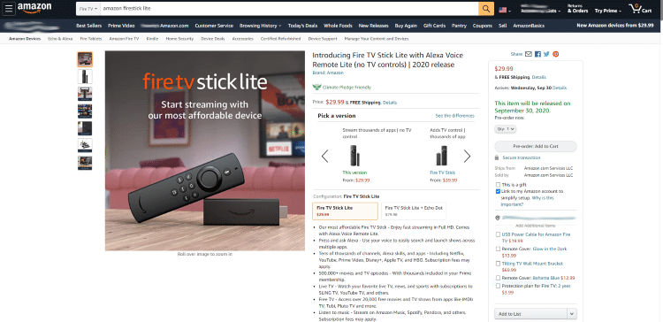 You can find more information on pricing, shipping, specs, and more on the Fire TV Stick Lite Product Page.