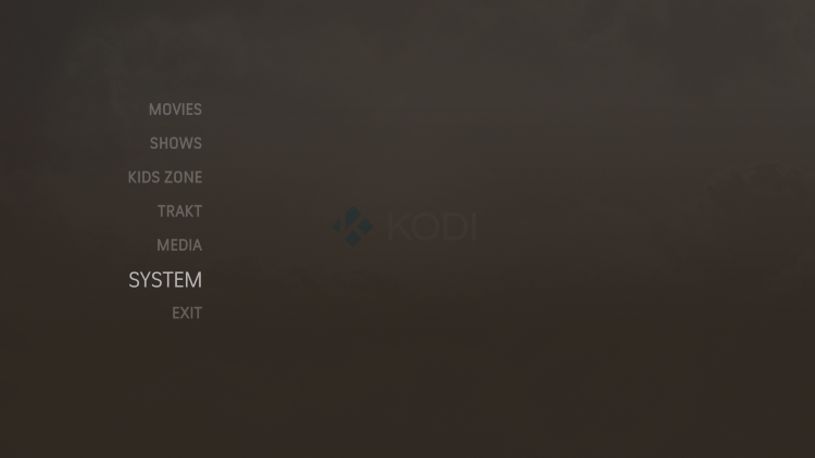 Select the System category within the menu.