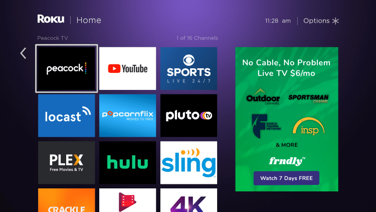 Move and drop Peacock TV at the top of your Channels list