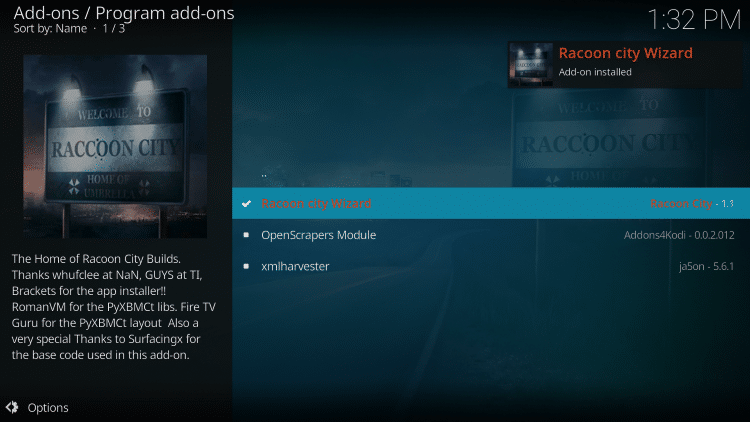 Wait for Racoon City Wizard Add-On Installed message to appear