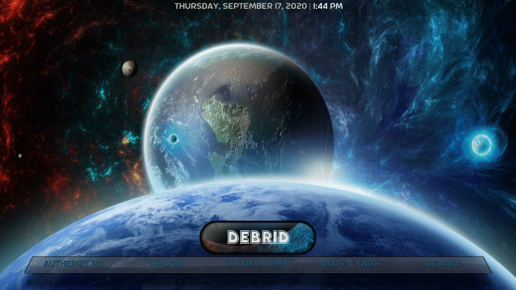 Hover over the Debrid category within the menu.