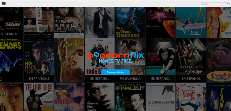 Visit the Popcornflix Website and click the settings icon (3 horizontal lines) on the top menu.