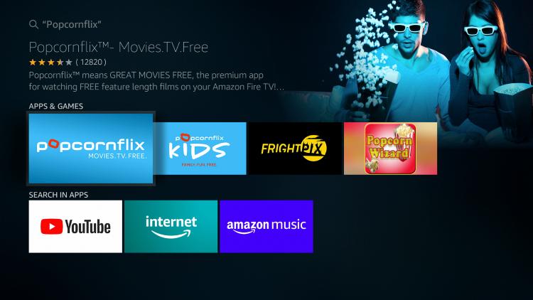 Select the Popcornflix app under Apps & Games