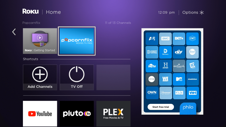 Return back to your Roku home screen and locate Popcornflix within your channel list