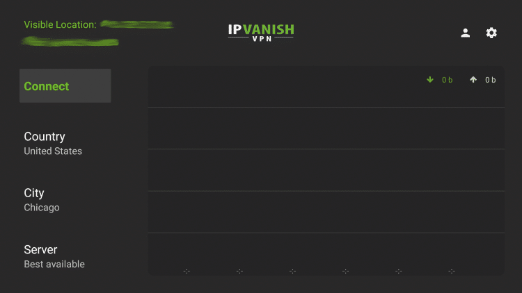 Launch the IPVanish VPN App and click the Settings icon on the right