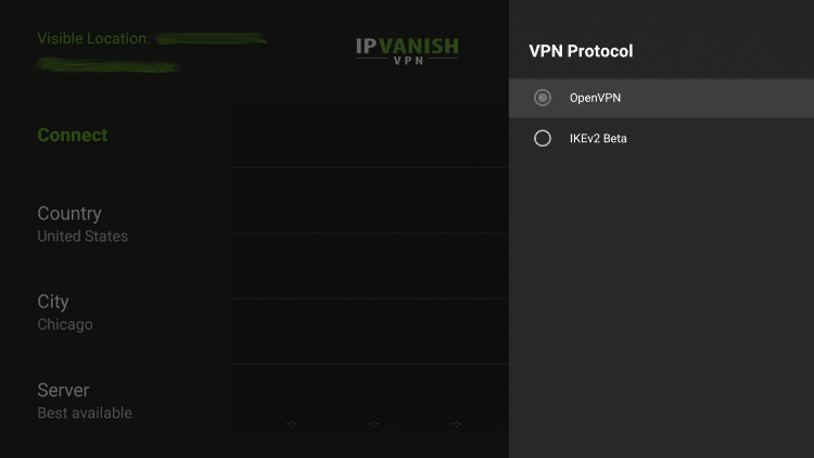 Notice the two options - OpenVPN and IKEv2 Beta, we will be testing both of these protocols