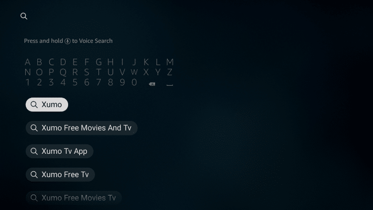 From your device home-screen hover over the search icon to type and select Xumo