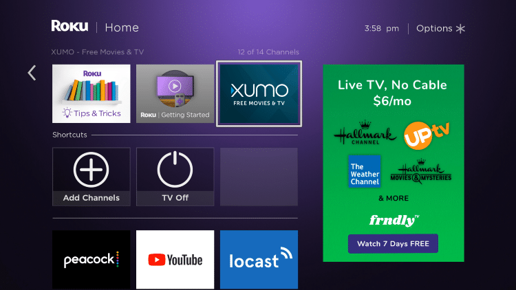 Return to the home screen and find XUMO TV