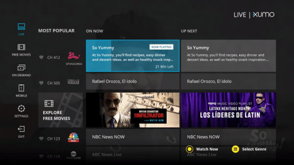 XUMO Dashboard - Best Free IPTV Apps for Live TV Streaming