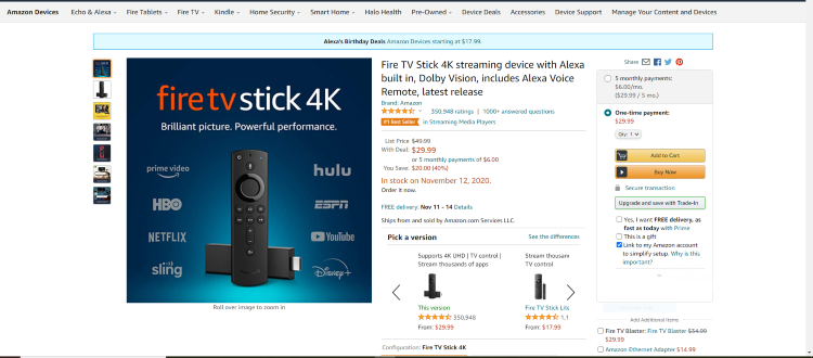 Amazon is running a promotion featuring the Fire TV Stick 4k and Fire TV Stick Lite for a major discount!