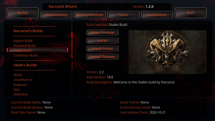 Scroll down and choose Diablo Build