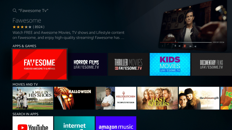Select the Fawesome TV App under Apps & Games