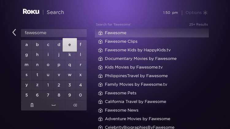 "Enter in ""Fawesome"" within the search bar"