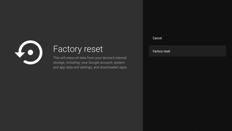 Select Factory reset again