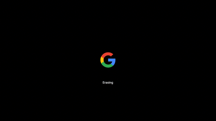 """Your Chromecast will reboot and you will see the following screen which reads 'Erasing"""""""
