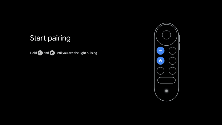 You are then directed to the remote pairing screen where you will begin the setup process.