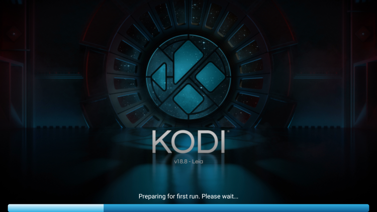 Wait a few seconds for Kodi to fully install