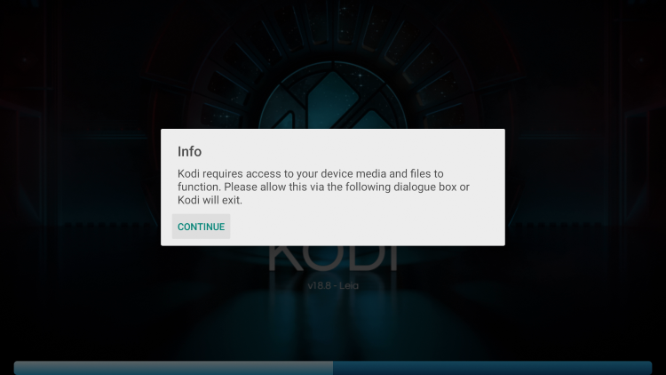When launching Kodi for the first time click Continue