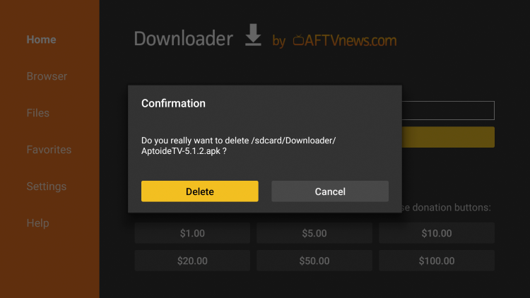 Confirm by selecting the Deletebutton again on the screen.