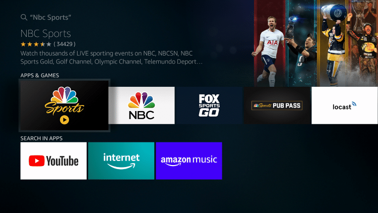 Choose NBC Sports under Apps & Games