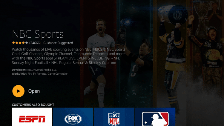 After installation, you can choose to open the NBC Sports App. But for this example, we suggest holding down the home button on your remote.