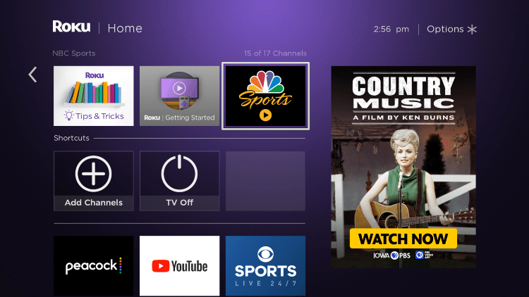 Return to the home screen and find NBC Sports