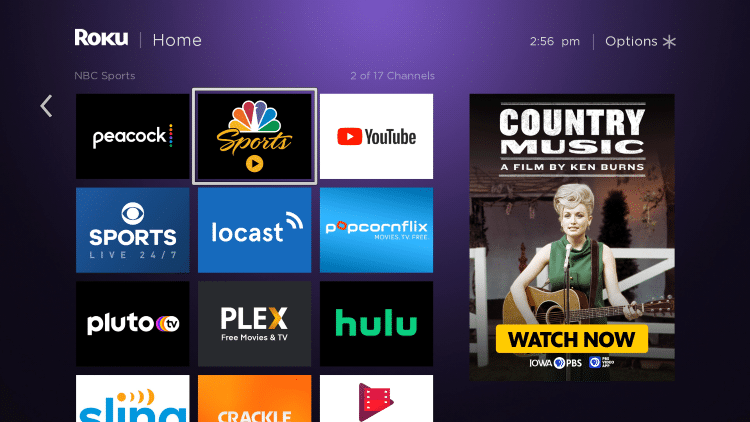 Move and drop NBC Sports at the top of your Channels list