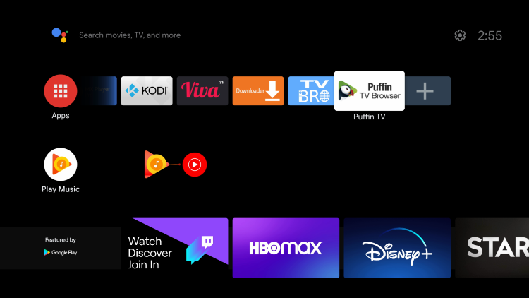 Place Puffin TV wherever you prefer in your list of apps