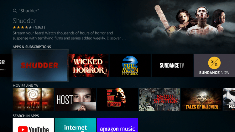 Select the Shudder TV App under Apps & Games