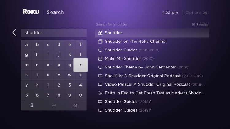 "Enter in ""Shudder"" within the search bar"