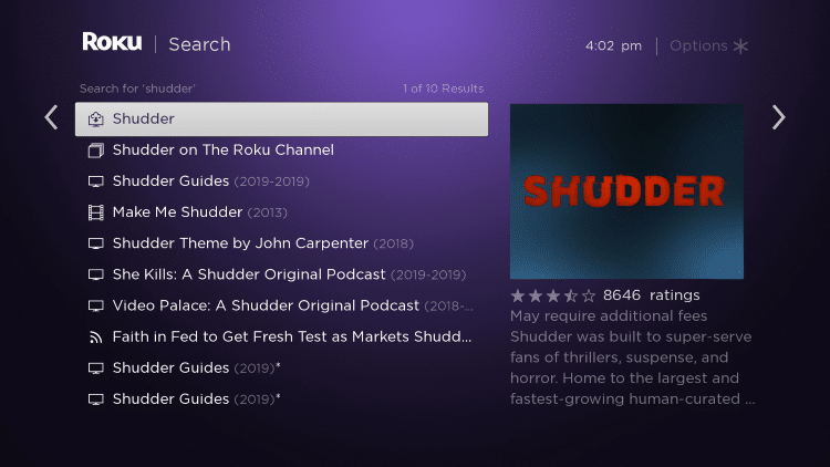 Click the first Shudder option that appears