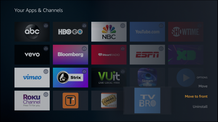 Hover over TV Bro and hold down the Options button (three horizontal lines). Then click Move to front or wherever you prefer to place this app.