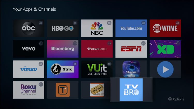 Hold down the home button on your remote then click Apps to access your apps and channels.