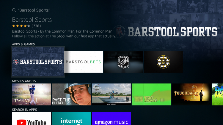 Select the Barstool Sports App under Apps & Games
