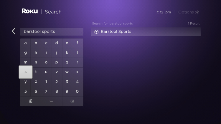"""Enter in """"Barstool Sports"""" within the search bar"""