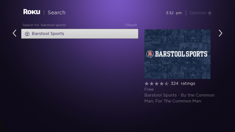Click the first Barstool Sports option that appears